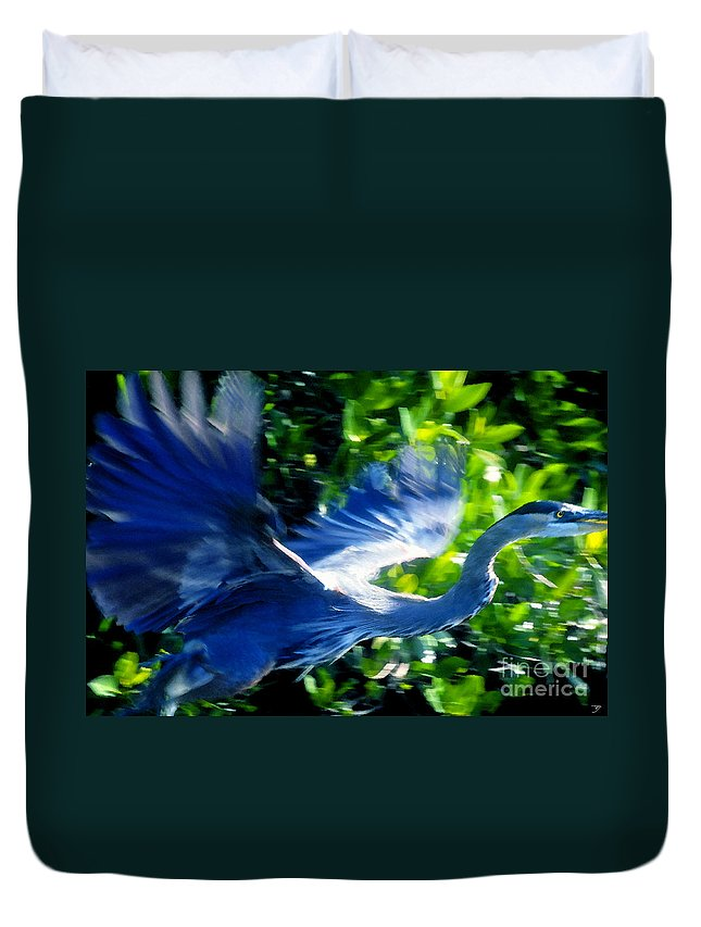 Great Blue Heron Duvet Cover featuring the painting The Great Blue by David Lee Thompson