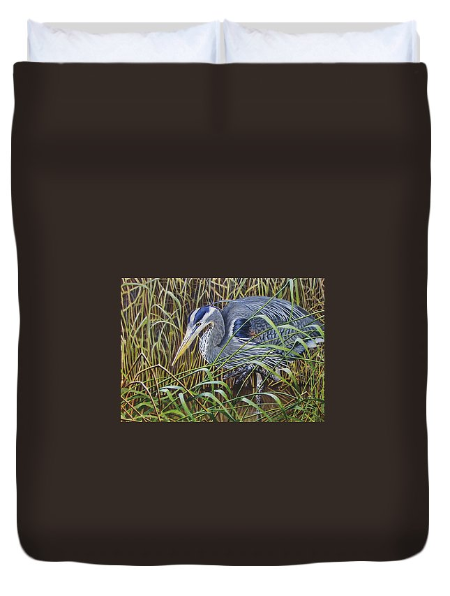 Heron Duvet Cover featuring the painting The Great Blue Heron by Greg and Linda Halom