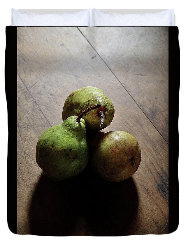 Pears- Still Life- Pear Heart Shadows- Hearts- The Great Escape Images Of Rae Ann M. Garrett - World Renowned - Famous Photographers - Duvet Cover featuring the photograph The Great Escape by Rae Ann M Garrett