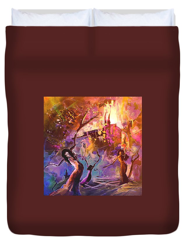 Fantascape Duvet Cover featuring the painting The Great Fire Of Woman by Miki De Goodaboom