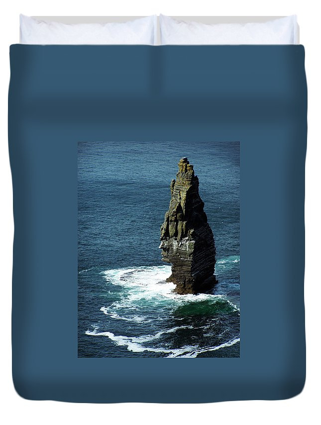 Irish Duvet Cover featuring the photograph The Great Sea Stack Brananmore Cliffs Of Moher Ireland by Teresa Mucha