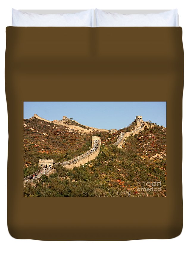 The Great Wall Of China Duvet Cover featuring the photograph The Great Wall On Beautiful Autumn Day by Carol Groenen