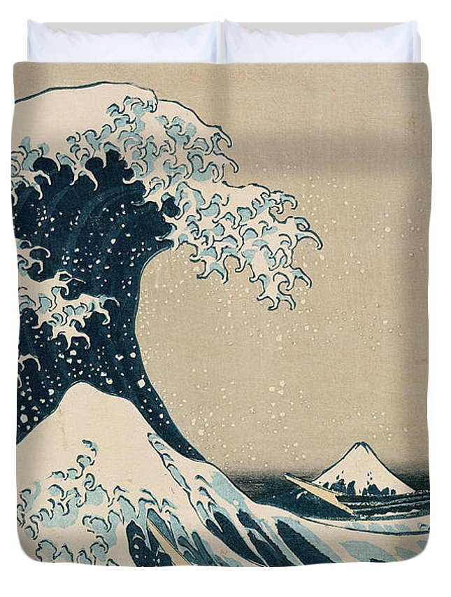 Wave Duvet Cover featuring the painting The Great Wave of Kanagawa by Hokusai