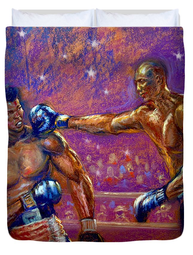 Boxing Duvet Cover featuring the pastel the Greatest Muhammed Ali vs Jack Johnson by Tommy Winn