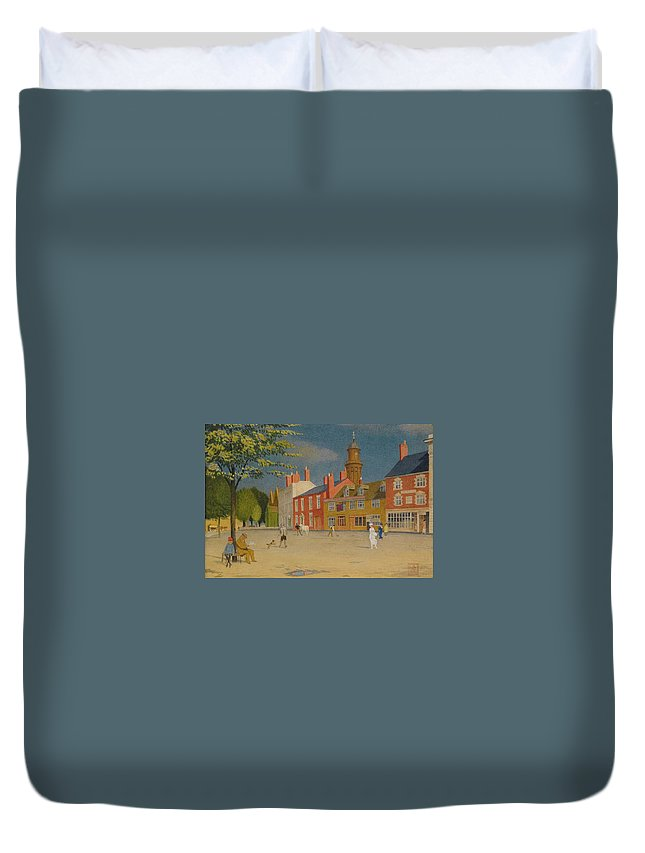 Joseph Edward Southall Duvet Cover featuring the painting The Green At Banbury by MotionAge Designs