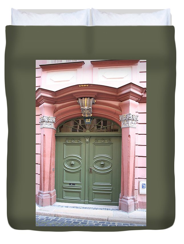 Door Duvet Cover featuring the photograph The Green Door by Christiane Schulze Art And Photography
