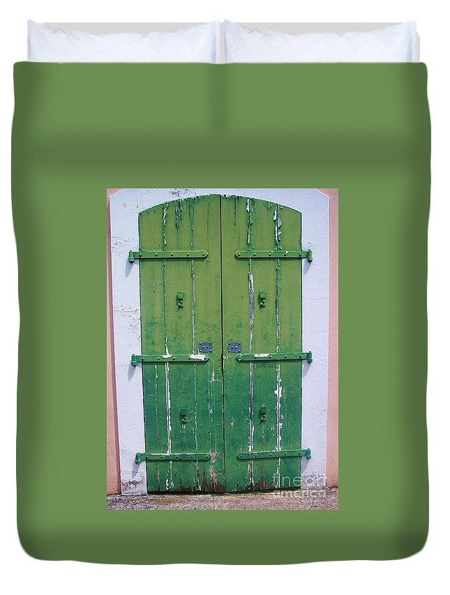 Architecture Duvet Cover featuring the photograph The Green Door by Debbi Granruth