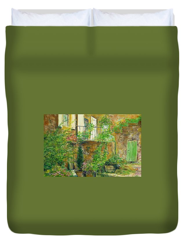 Stone Duvet Cover featuring the painting The Green Door by Lizzy Forrester