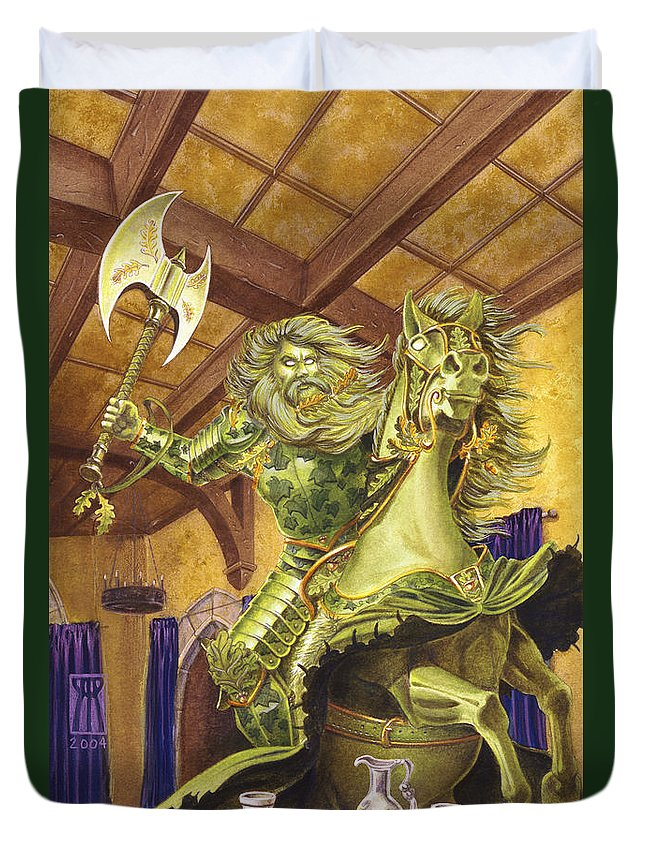 Fine Art Duvet Cover featuring the painting The Green Knight by Melissa A Benson