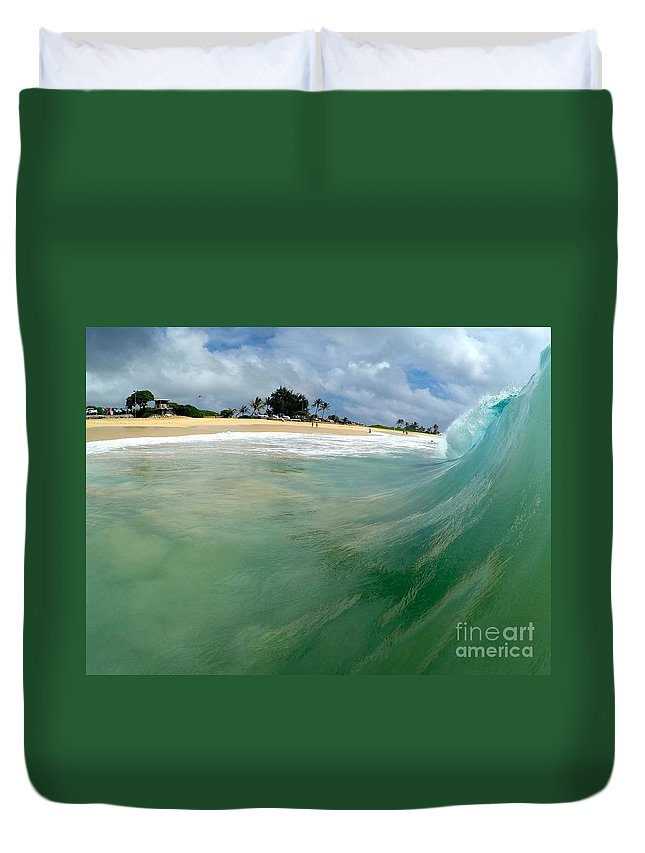 Wave Duvet Cover featuring the photograph The Green Monster by Benen Weir