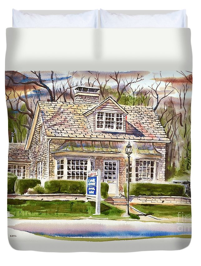 The Greystone Inn In Brigadoon Duvet Cover featuring the painting The Greystone Inn In Brigadoon by Kip DeVore