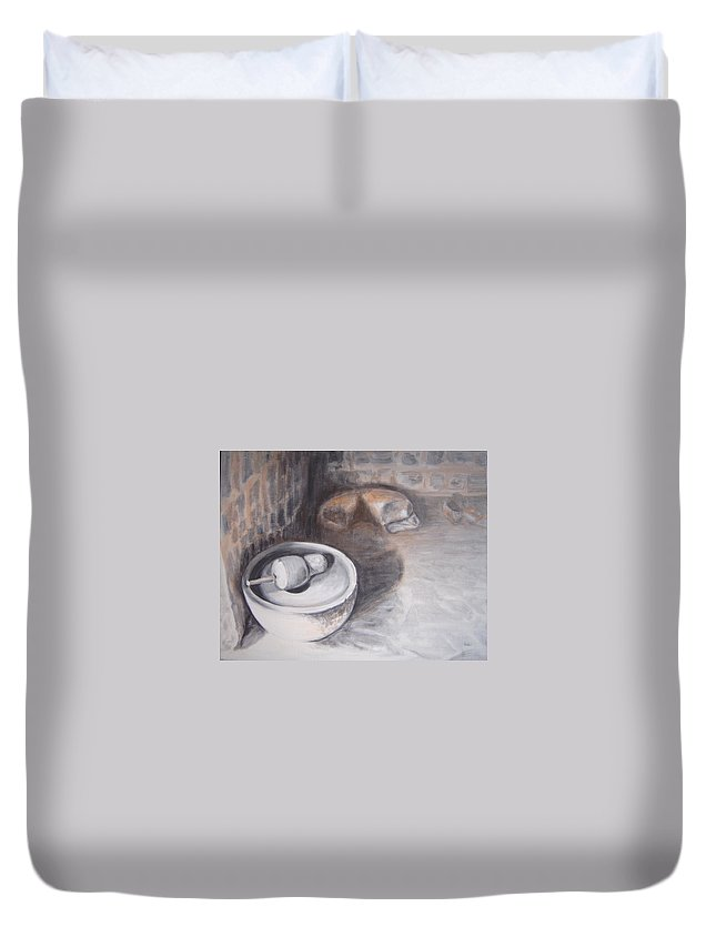 Grinding Duvet Cover featuring the painting The Grinding Stone by Usha Shantharam