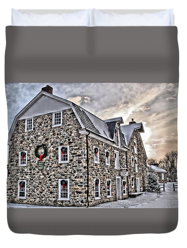 Hellertown Duvet Cover featuring the photograph The Grist Mill And Ye Old Tavern by DJ Florek