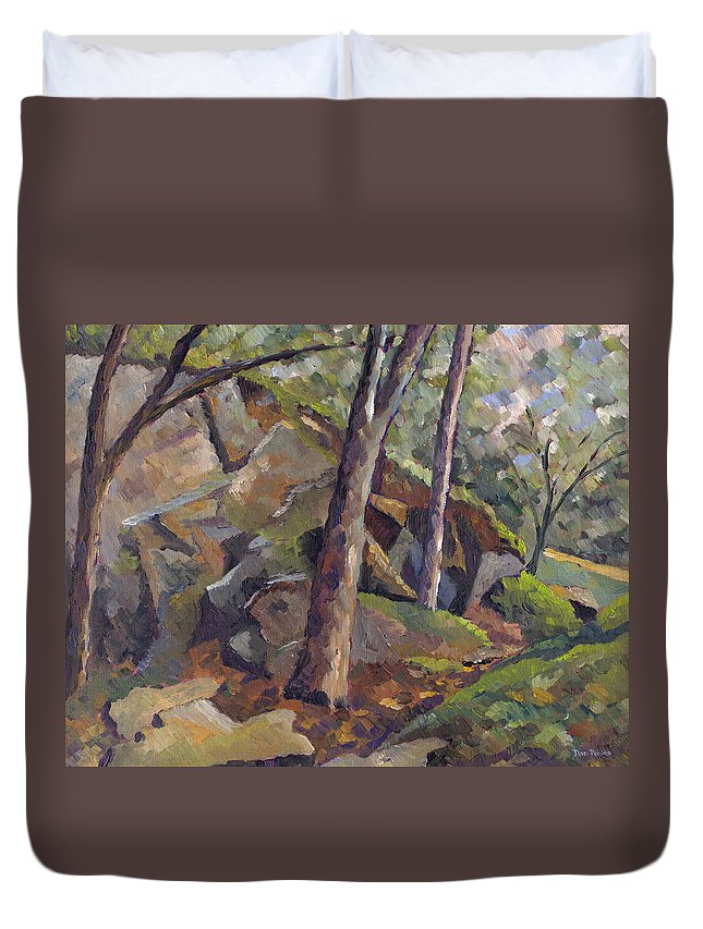 Impressionism Duvet Cover featuring the painting The Grotto by Don Perino