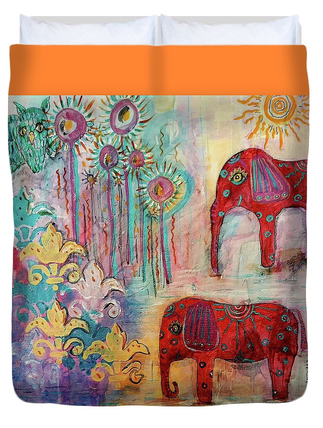 Elephants Duvet Cover featuring the mixed media The Guardians Of Night And Day by Mimulux patricia No
