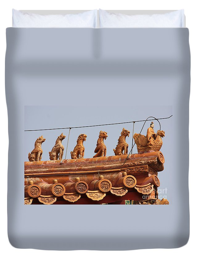 Guard Duvet Cover featuring the photograph The Guardians Of The Forbidden City by Carol Groenen