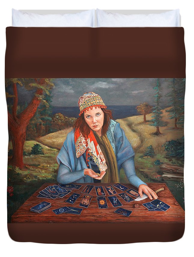 Figurative Art Duvet Cover featuring the painting The Gypsy Fortune Teller by Enzie Shahmiri