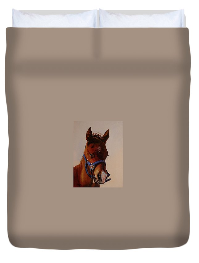 Judy Bradley Duvet Cover featuring the painting The Halter by Judy Bradley