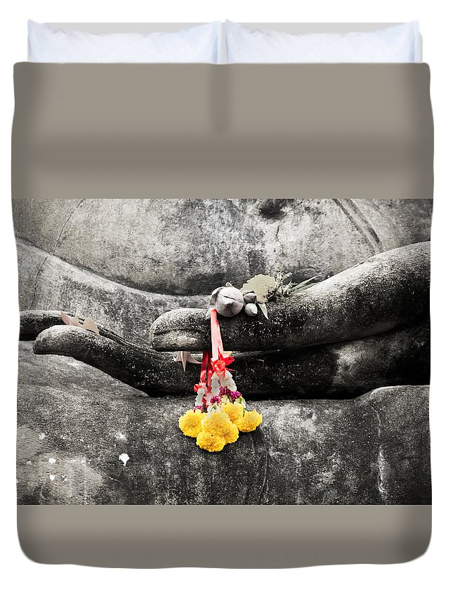 Buddha Duvet Cover featuring the photograph The Hand Of Buddha by Adrian Evans