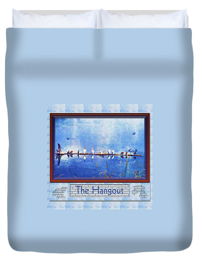Birds Duvet Cover featuring the photograph The Hangout by Susan Kinney
