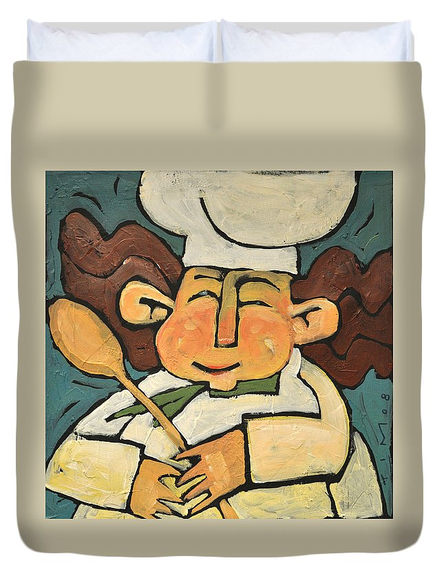 Chef Duvet Cover featuring the painting The Happy Chef by Tim Nyberg