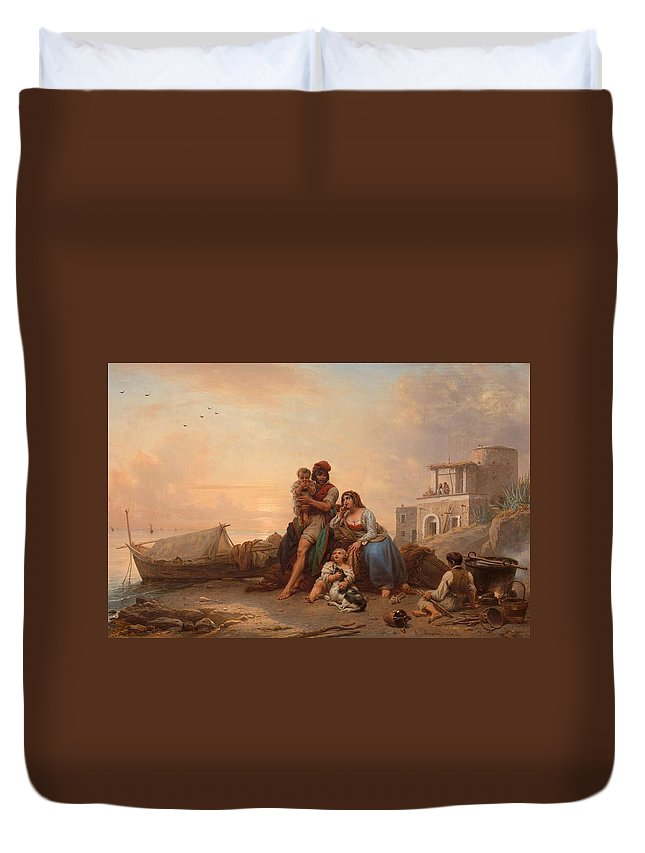 Louis Ricquier (antwerp 1792 - Paris 1884) Duvet Cover featuring the painting The Happy Family by MotionAge Designs