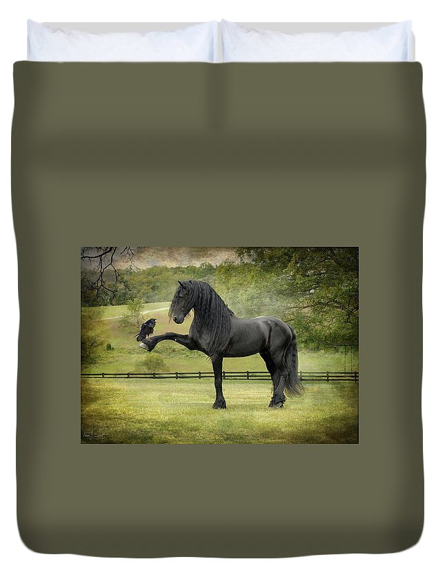 Friesian Horses Duvet Cover featuring the photograph The Harbinger by Fran J Scott