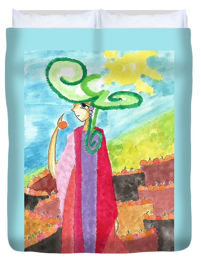 Watercolor Duvet Cover featuring the painting The Harvest Of Oranges by Earl Joseph Sinajon