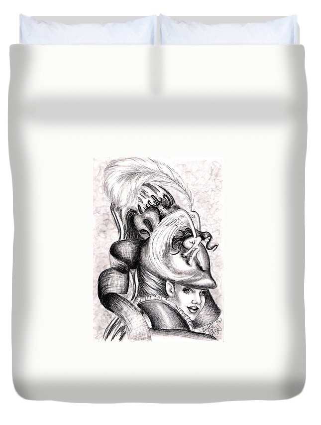Fantasy Duvet Cover featuring the drawing The Hat by Scarlett Royal