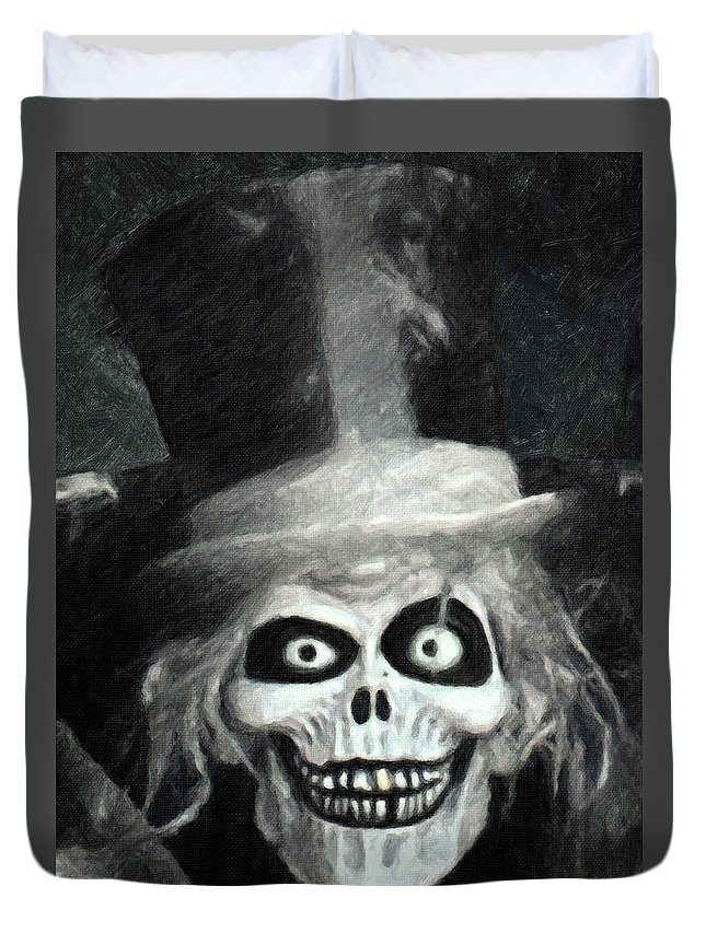 The Hatbox Ghost Duvet Cover featuring the painting The Hatbox Ghost by Zapista