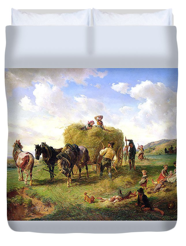 The Duvet Cover featuring the painting The Hay Harvest by Hermann Kauffmann