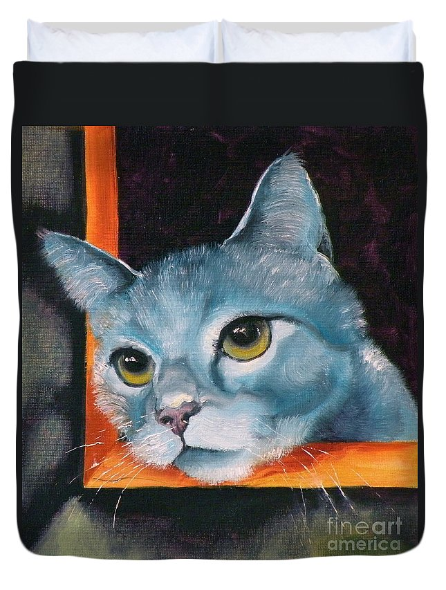 Cat Duvet Cover featuring the painting The Heart Is A Lonely Hunter by Susan A Becker