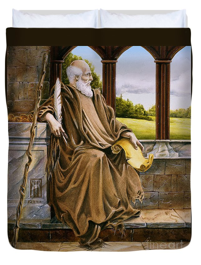 Wise Man Duvet Cover featuring the painting The Hermit Nascien by Melissa A Benson