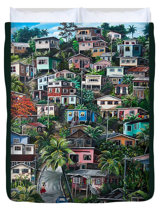 Landscape Painting Cityscape Painting Houses Painting Hill Painting Lavantille Port Of Spain Painting Trinidad And Tobago Painting Caribbean Painting Tropical Painting Caribbean Painting Original Painting Greeting Card Painting Duvet Cover featuring the painting The Hill   Trinidad by Karin Dawn Kelshall- Best