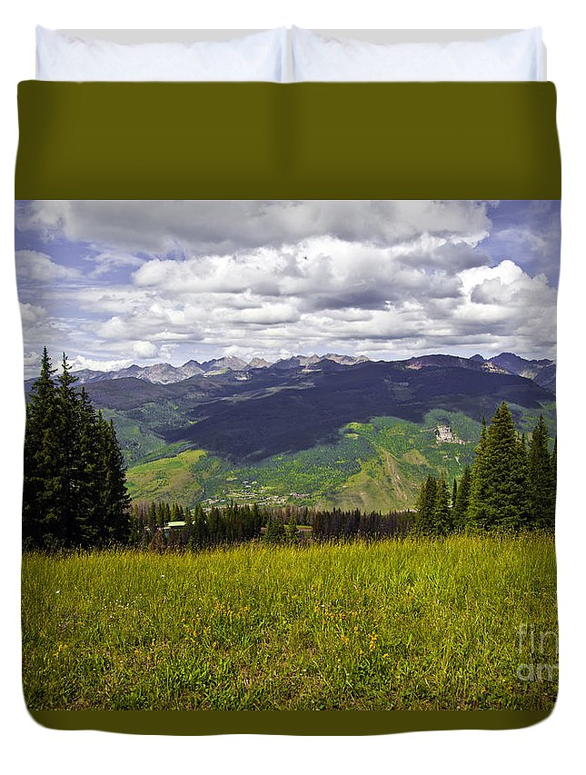 Trees Duvet Cover featuring the photograph The Hills Are Alive In Vail by Madeline Ellis