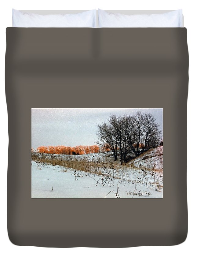 Snow Duvet Cover featuring the photograph The Hillside by Charles Wood II