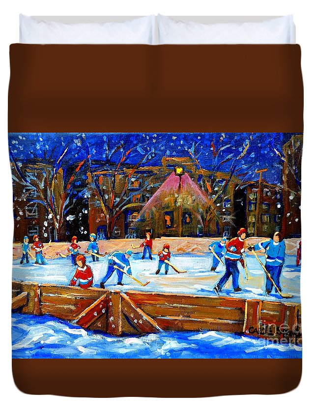 Snow Duvet Cover featuring the painting The Hockey Rink by Carole Spandau