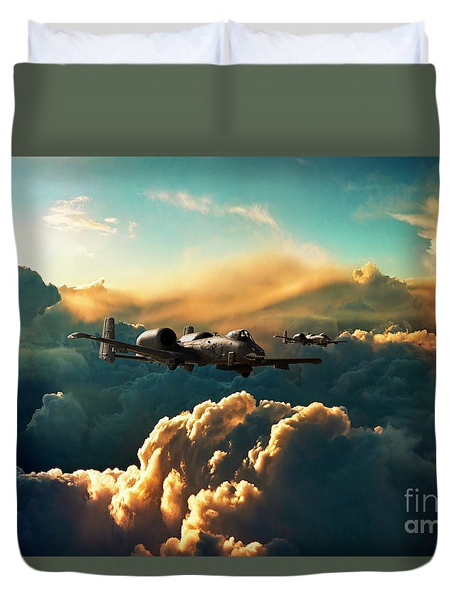 A10 Duvet Cover featuring the digital art The Hogs by Airpower Art