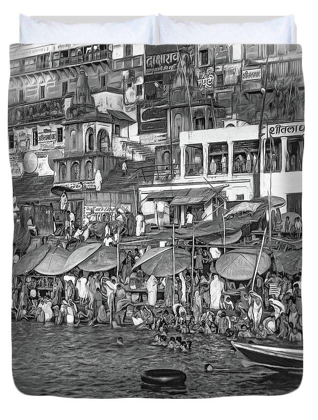 Varanasi Duvet Cover featuring the photograph The Holy Ganges - Paint Bw by Steve Harrington