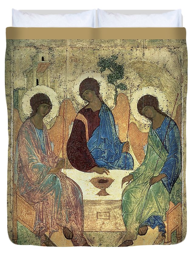 The Duvet Cover featuring the painting The Holy Trinity by Andrei Rublev