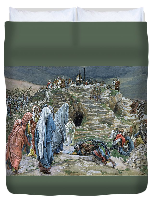 Tissot Duvet Cover featuring the painting The Holy Women Stand Far Off Beholding What Is Done by James Jacques Joseph Tissot