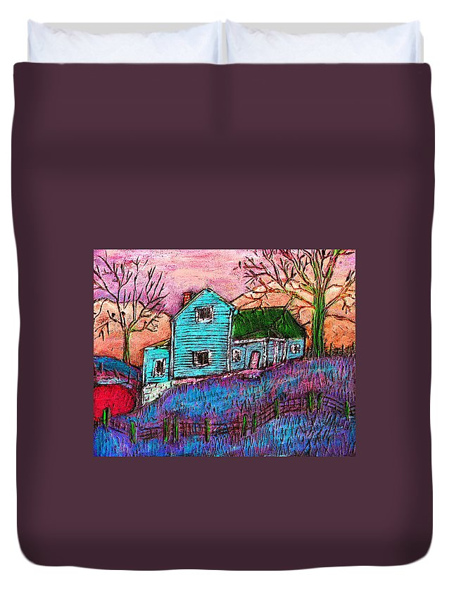 Farm Duvet Cover featuring the painting The Homestead I by Wayne Potrafka
