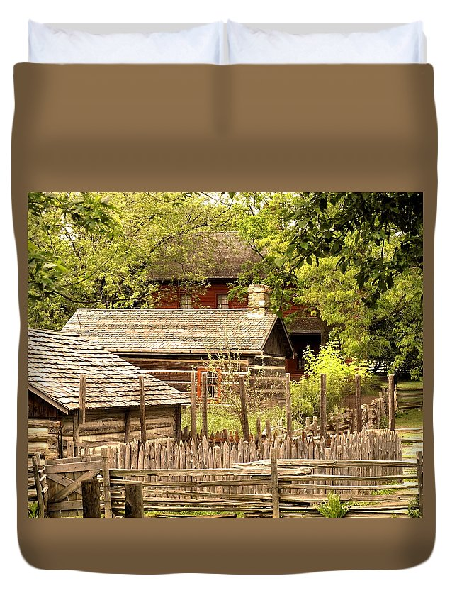 Log Cabins Duvet Cover featuring the photograph The Homestead by Ian MacDonald