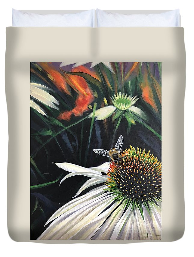 Daisy Duvet Cover featuring the painting The Honeythief by Hunter Jay