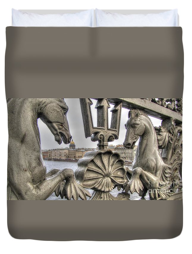 City Duvet Cover featuring the pyrography The Horse On The Bridge by Yury Bashkin