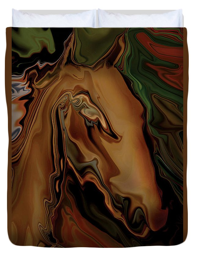 Animal Duvet Cover featuring the digital art The Horse by Rabi Khan