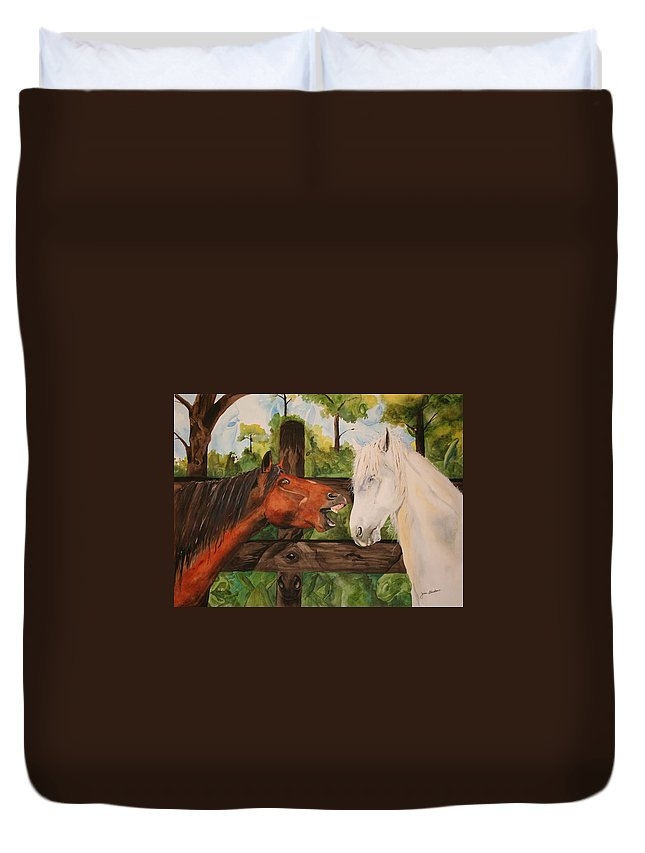 Horse Duvet Cover featuring the painting The Horse Whisperers by Jean Blackmer