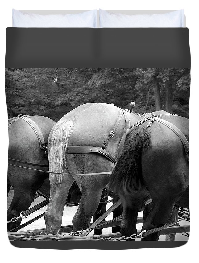 Mackinac Duvet Cover featuring the photograph The Horses Of Mackinac Island Michigan 03 Bw by Thomas Woolworth