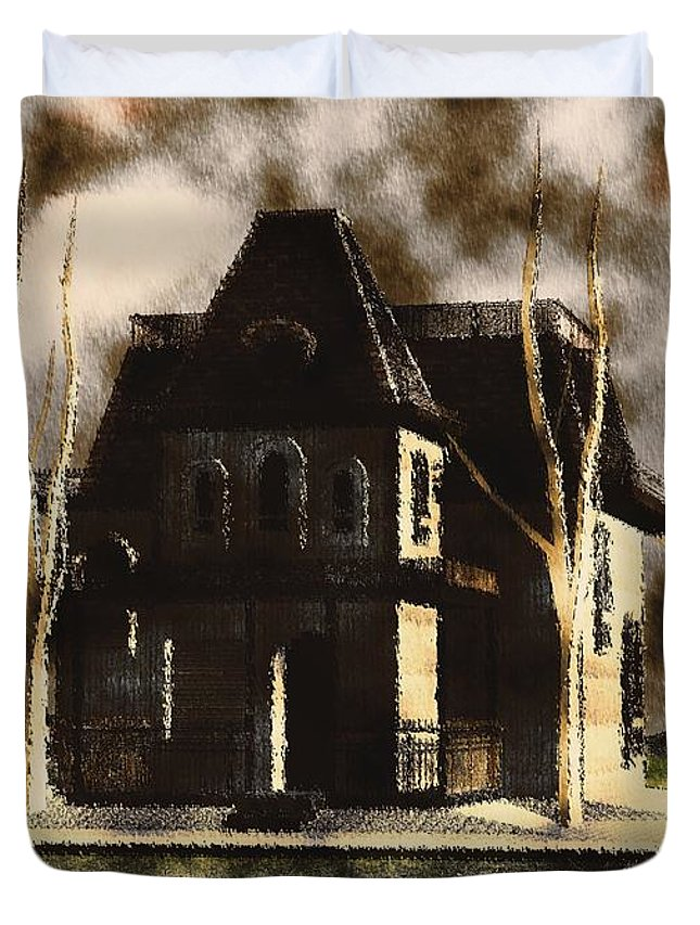 Horror Duvet Cover featuring the painting The House From Psycho by Mary Bassett