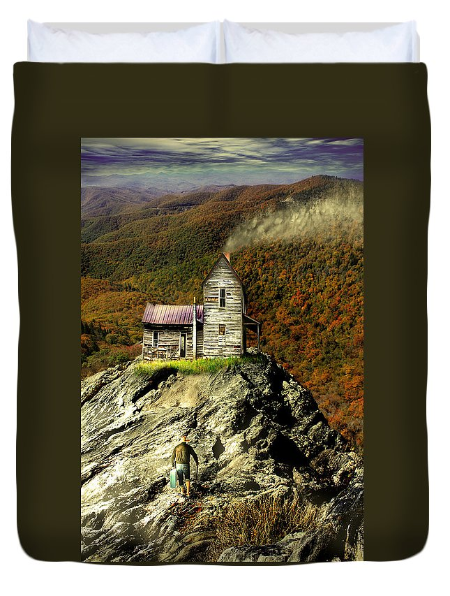 Blue Ridge Parkway Duvet Cover featuring the photograph The House Time Forgot Color by Gray Artus